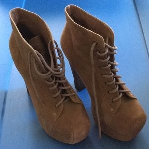 Jeffrey Campbell Lita Beige Suede Wood Platforms